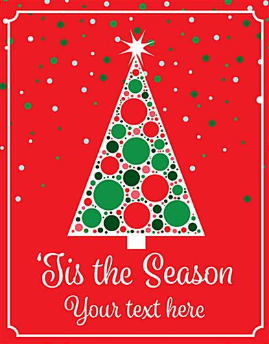 "Retail Christmas tree store window poster with ""Tis the Season"" Messaging"