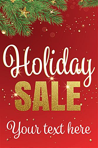 "24"" x 36"" trendy holiday window sign with evergreen graphics"