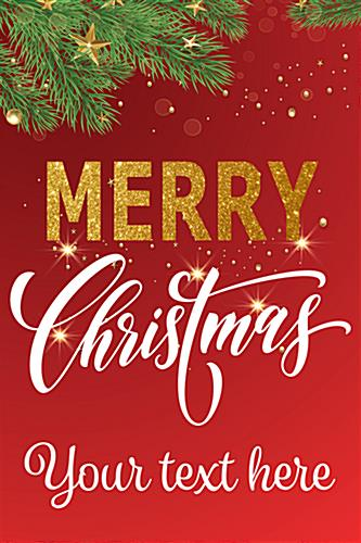 "24"" x 36"" ""Merry Christmas"" shop window poster with custom text line"