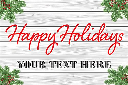 Happy Holidays window display sign with custom text line