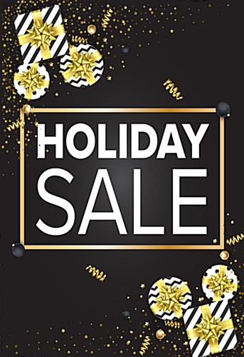 24 x 36 black and gold holiday store signs