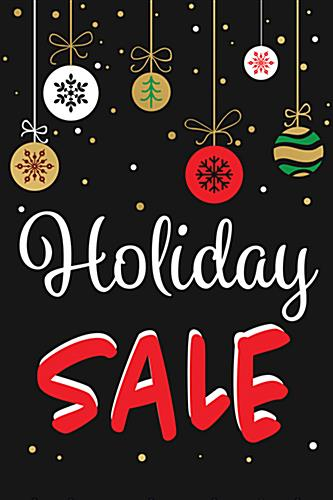 "Store window chalkboard ""Holiday Sale"" banner with digital printing"