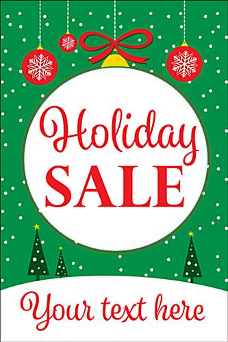 "24"" x 36"" ""Holiday Sale"" window poster with green background"