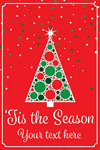 Christmas tree window poster for retail with red background