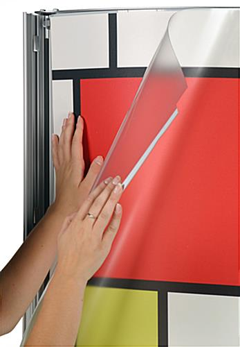 "Totem Poster Stand Holds 224"" x 72"" Signage (Convex Design)"
