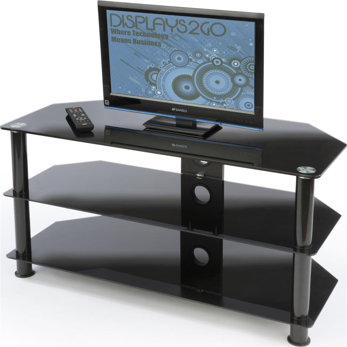 small glass tv stand holds up to 132lbs of electronics. Black Bedroom Furniture Sets. Home Design Ideas