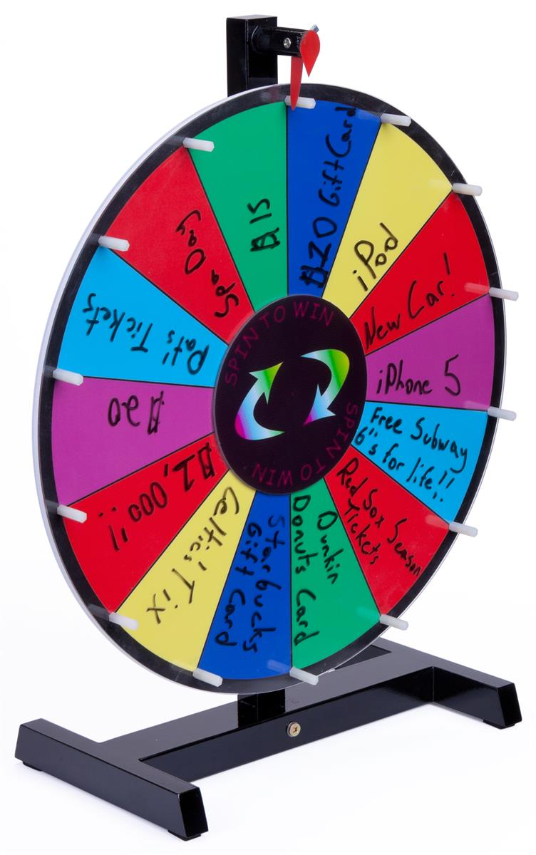 Displays2go Prize Wheel with 14 Slots, Write-On Surface, ...