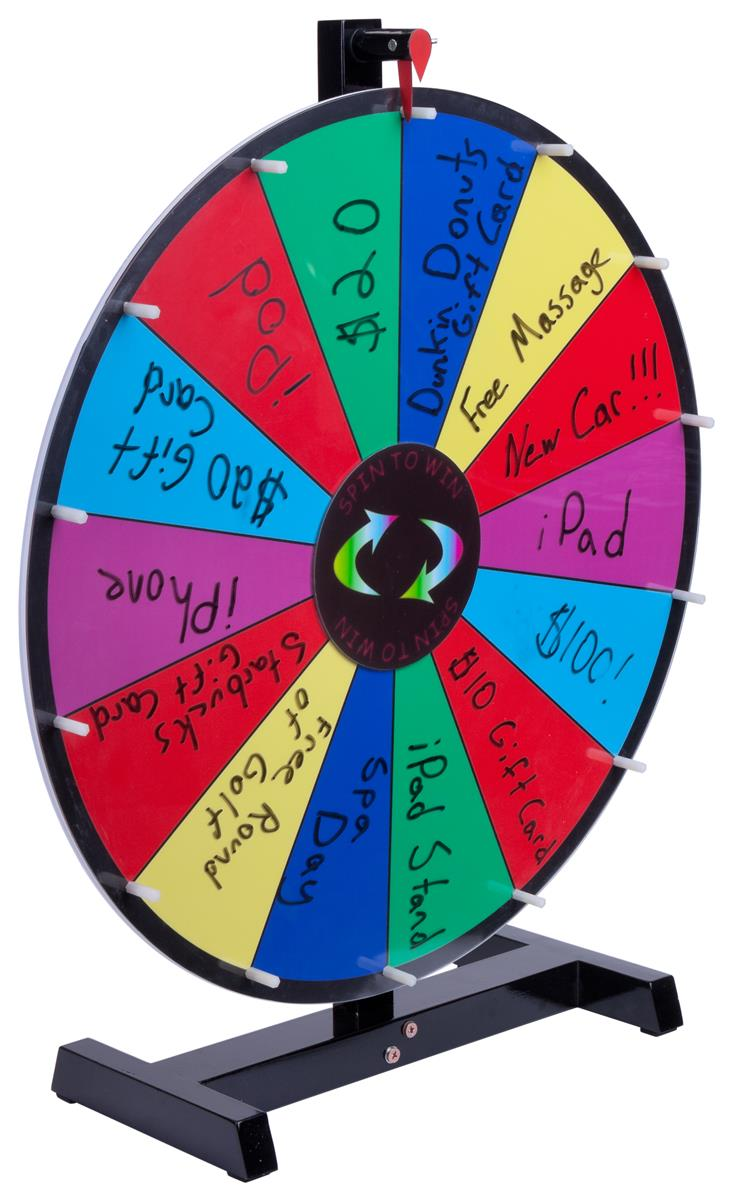 Prize Wheel with 14 Slots, Write-On Surface, Countertop - Multi-Color