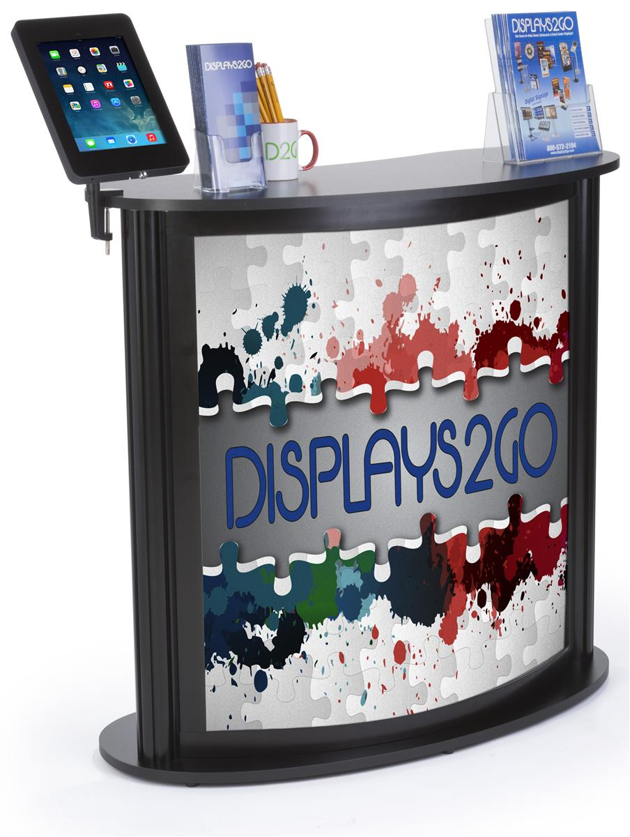 Custom Trade Show Counter With Ipad Stand Rotating Enclosure