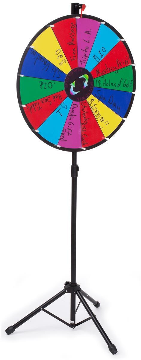 Displays2go Adjustable Prize Wheel with 14 Slots, Write-O...