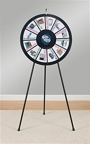 Spinning game wheel adjustable legs for floor or tabletop for Online wheel of fortune template