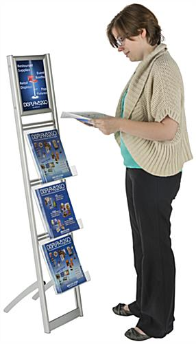 Collapsible Magazine Stand with Top Insert Sign Holder