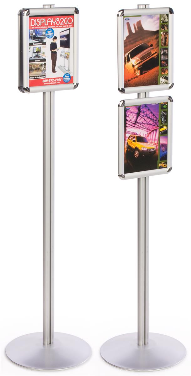 Exhibition Stand Round : Dual sign poster display silver stand w round base