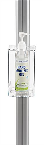 Hand sanitizer dispenser stand with adjustable acrylic holder