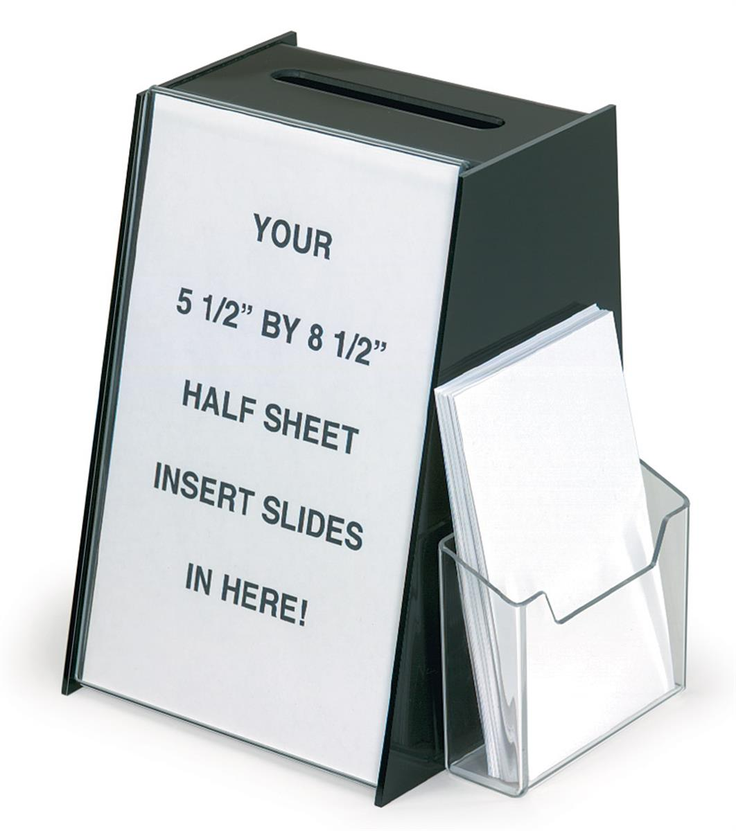 Displays2go Acrylic Ballot Box with 5.5 x 8.5 Sign Holder...