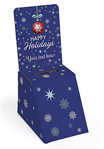Holiday printed cardboard donation box with snowflake graphics