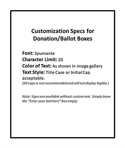 Seasonal cardboard donation bin with custom text option