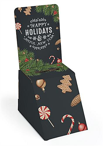 Holiday printed cardboard ballot box with seasonal message