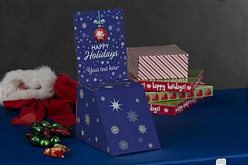 Holiday printed cardboard donation box for countertop use