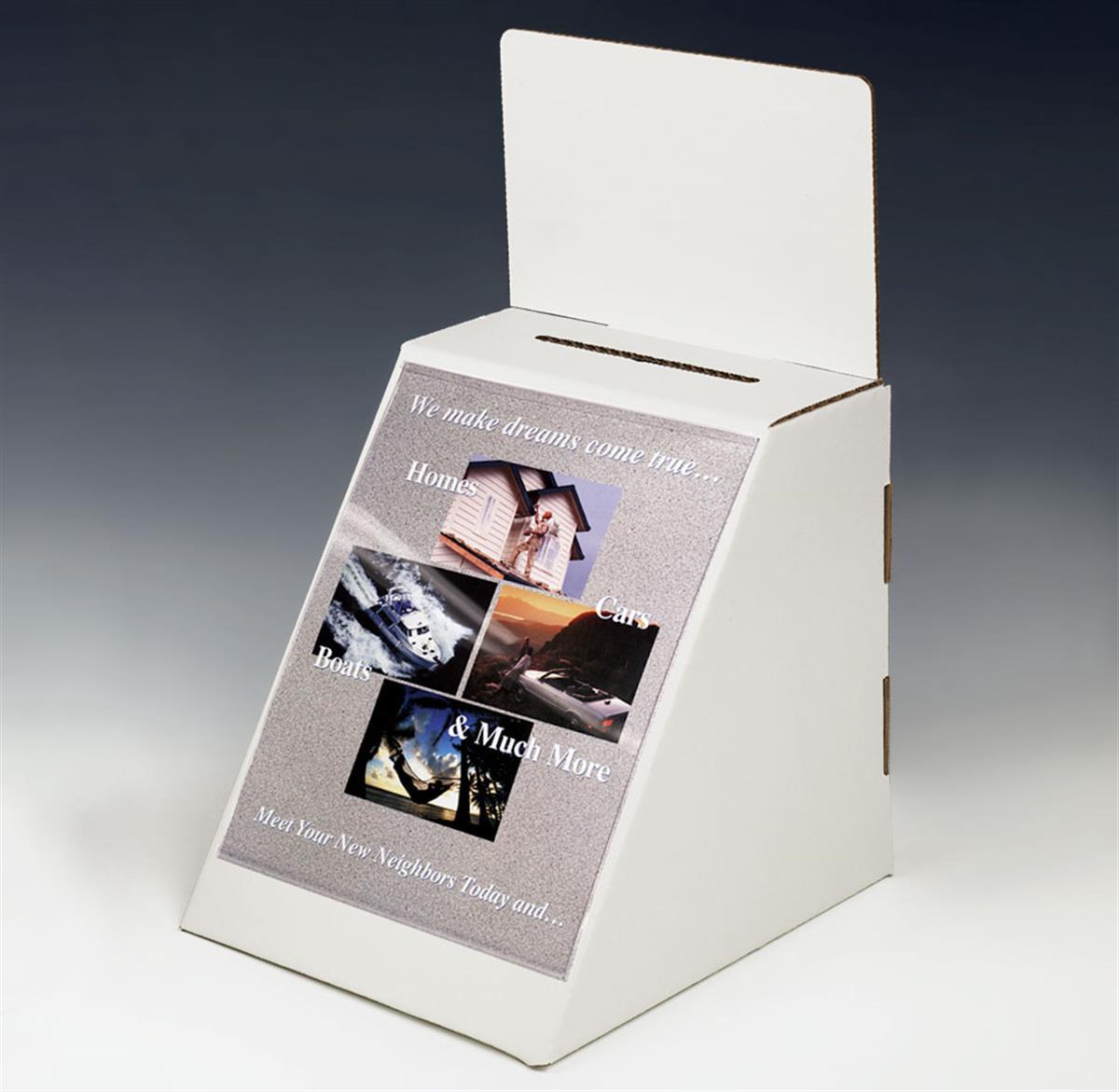 Displays2go Cardboard Ballot Box with 8.5 x 11 Sign Holde...