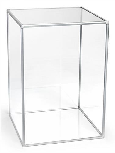 "Silver framed 14"" acrylic square display cube"