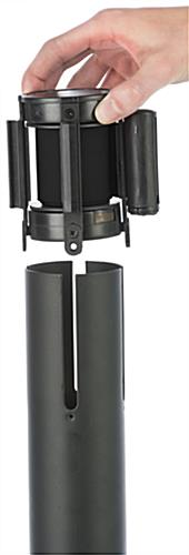 Stanchion with Black Printed Belt & Removable 4-Way Adaptor