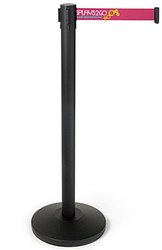 Powder coated steel black post with 3-color printed pink belt stanchion