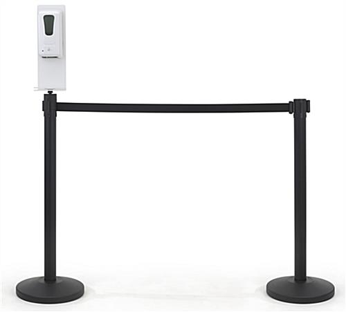 Hand sanitizer stanchion topper with 6 inch width