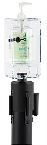 Locking hand sanitizer stanchion topper fits a variety size bottles