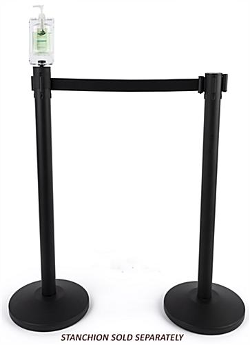 Hand sanitizer holder stanchion topper supports QueuePole Value and Economy Series Poles