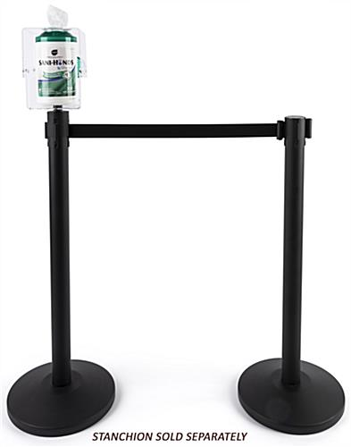 Stanchion topper sanitizing wipe holder with aluminum material