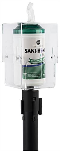 Stanchion topper sanitizing wipe holder with acrylic dispenser