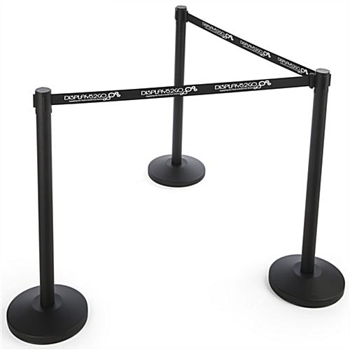 Economy Black Custom Stanchion Belt with 1 Color Printing