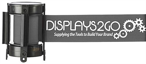 6.5' Long Gray Custom Stanchion Belt with 1 Color Printing