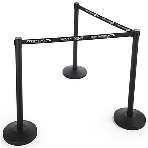 Black Custom Stanchion Belt with 2 Color Printing Single Sided