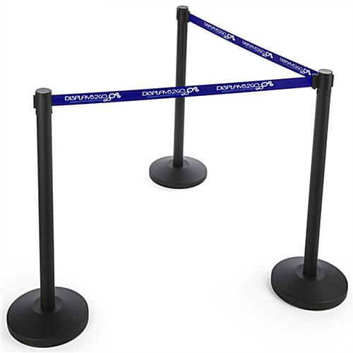 6.5' Long Blue Custom Stanchion Belt with 2 Color Printing