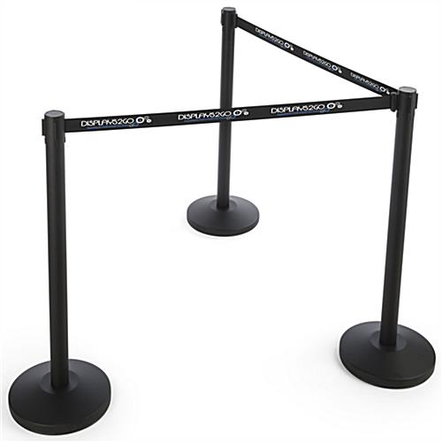 QueuePole.Economy Black Custom Stanchion Belt with 3 Color Printing