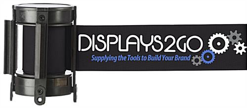 Black Custom Stanchion Belt with 3 Color Printing Retractable