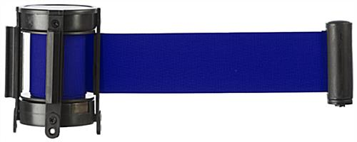 Blue Custom Stanchion Belt with 3 Color Printing & Retractable Band