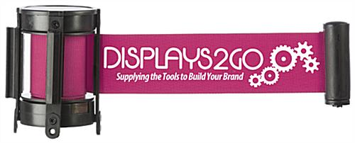 Printed pink crowd control stanchion belt with one-color graphics