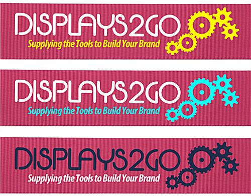 Pink stanchion belt with 2-color logo printing custom graphics