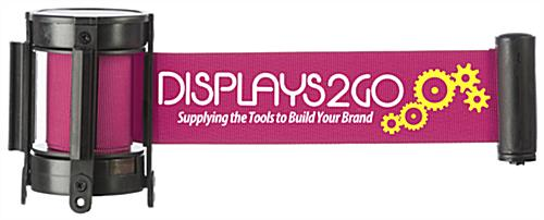Pink stanchion belt with 2-color logo printing and retractable band