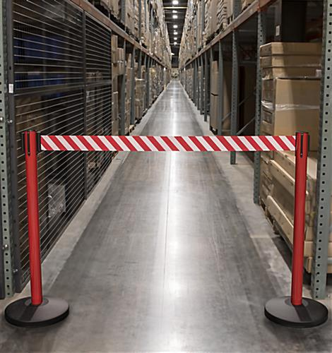 Reflective Belt Stanchions Mark Off-Limits Areas