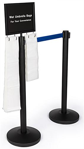 2-stanchion umbrella bag set with blue belt and 300 courtesy bags is a complete set to reduce slip and fall accidents