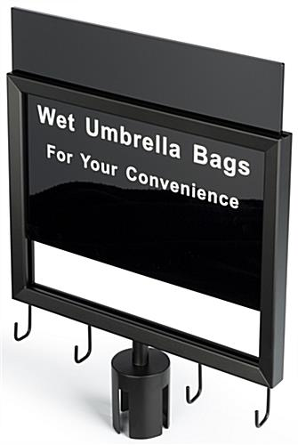 Gray belt stanchion umbrella station with slide-in sign