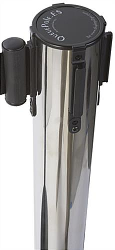 Chrome Stanchion with Retractable Dual Belts, Nylon