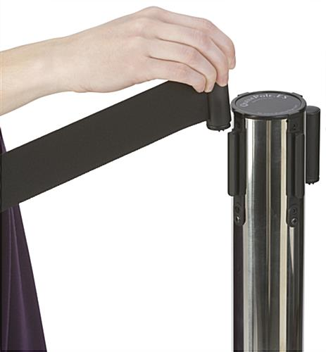 Chrome Stanchion with Retractable Dual Belts, 6.25' Band Length