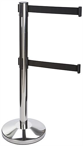 Chrome Stanchion with Retractable Dual Belts, Queue Pole Line
