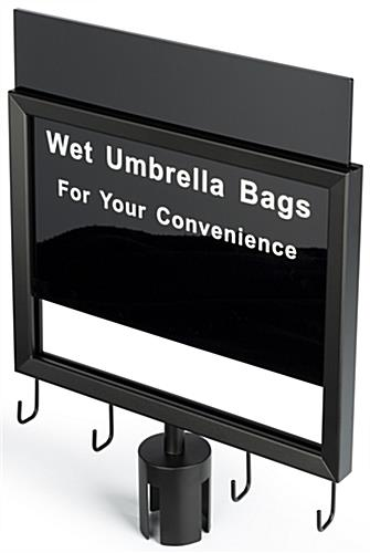 2-stanchion umbrella bag holder with red belt and double-sided slide-in sign