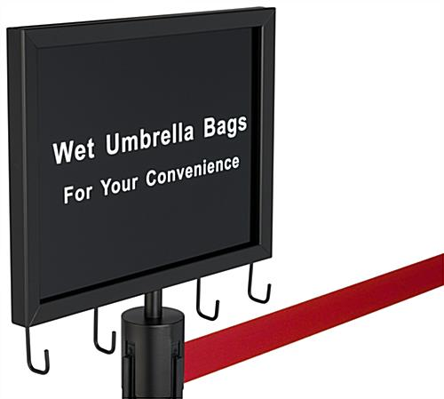 2-stanchion bag umbrella holder with red belt and black sign with double-sided pre-printed message